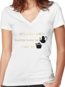 Let's Hatch A Plot Women's Fitted V-Neck T-Shirt