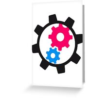 cool cogs design engine clockwork turn mechanically Greeting Card
