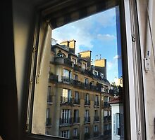 Reflection of apartments from hostel window. by merrywrath
