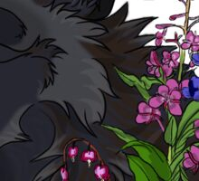 Black Wolf & Flowers Sticker