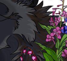 Black Wolf & Flowers Sticker