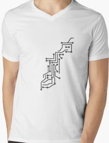 cool lines design circuitry technology lines microchip disk pattern Mens V-Neck T-Shirt