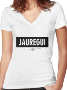 Jauregui 7/27 - Black Women's Fitted V-Neck T-Shirt