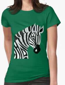 Black and White Hand Drawing Zebra Womens Fitted T-Shirt