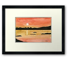 Orange Sunset - Watercolor Painting Framed Print
