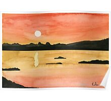 Orange Sunset - Watercolor Painting Poster