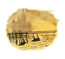 Antique Sunset - Watercolor Painting Photographic Print