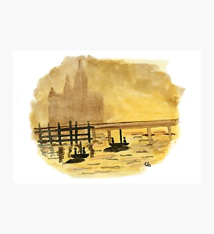 Antique Sunset. Original Watercolor Painting Art Print from Watercolor Painting Fine Art Print Watercolor Wall Art Photographic Print