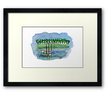 Canoes - Watercolor Painting Framed Print