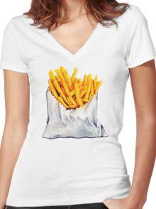 French Fries Pattern T-shirt femme moulant col V