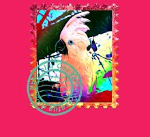 UMBRELLA COCKATOO PSYCHEDELIC POSTAGE STAMP Womens Fitted T-Shirt