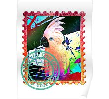UMBRELLA COCKATOO PSYCHEDELIC POSTAGE STAMP Poster