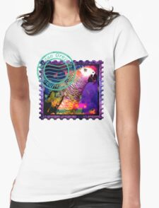 AFRICAN GREY PSYCHEDELIC POSTAGE STAMP Womens T-Shirt