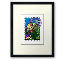 Yellow-crowned amazon PSYCHEDELIC POSTAGE STAMP Framed Print