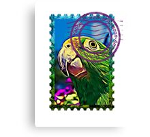 Yellow-crowned amazon PSYCHEDELIC POSTAGE STAMP Canvas Print