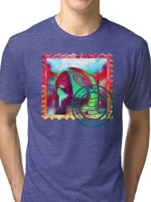 MACAW PSYCHEDELIC POSTAGE STAMP Tri-blend T-Shirt
