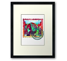 MACAW PSYCHEDELIC POSTAGE STAMP Framed Print