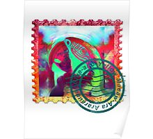 MACAW PSYCHEDELIC POSTAGE STAMP Poster