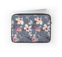 Butterflies and Hibiscus Flowers - a painted pattern Laptop Sleeve