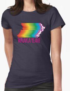 WHAKA YEAH kiwi rainbow (NEW ZEALAND MAP Marriage equality) Womens Fitted T-Shirt