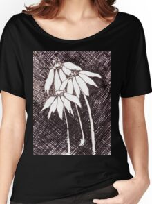Daisies Black ink sketch Women's Relaxed Fit T-Shirt
