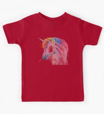 Rainbow Unicorn Watercolor Kids Tee