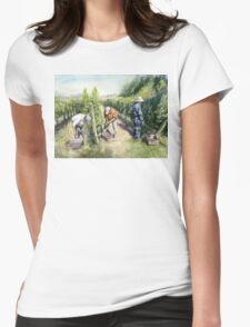 Vineyard Watercolor Painting Womens Fitted T-Shirt