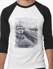 Boat Watercolor Waterfront Marina Sailing Boating Men's Baseball ¾ T-Shirt