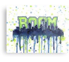 Seattle Legion of Boom 12th Man Skyline Silhouette Watercolor Metal Print