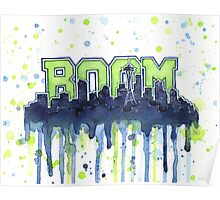 Seattle Legion of Boom 12th Man Skyline Silhouette Watercolor Poster