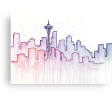 Seattle Skyline Watercolor Silhouette Canvas Print
