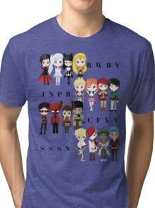 Chibi Team RWBY JNPR CFVY & SSSN Tri-blend T-Shirt