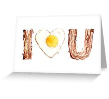 I Love Bacon and Egg Whimsical Watercolor Illustration Greeting Card