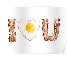 I Love Bacon and Egg Whimsical Watercolor Illustration Poster