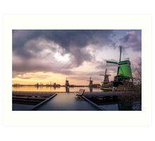 Dutch Windmills at sunset Art Print