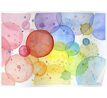 Geometric Watercolor Abstract Rainbow Circles Poster