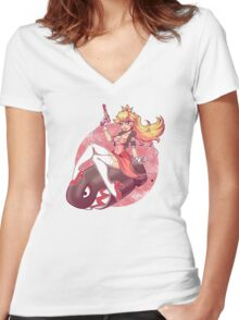 Banzai Peach  Women's Fitted V-Neck T-Shirt