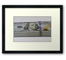 Stack of one hundred dollar bills Framed Print