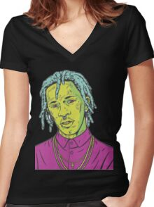 young thug art Women's Fitted V-Neck T-Shirt
