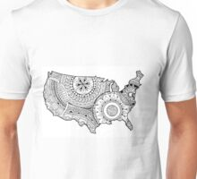 Zentangle USA map Black and White Unisex T-Shirt
