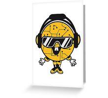 comic cartoon cyborg robot electric lines man male figure cute sweet music party sunglasses headphones dj club disco Greeting Card