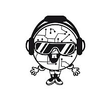 comic cartoon cyborg robot electric lines man male figure cute sweet music party sunglasses headphones dj club disco Photographic Print