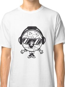 comic cartoon cyborg robot electric lines man male figure cute sweet music party sunglasses headphones dj club disco Classic T-Shirt