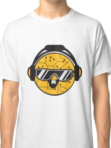 comic cartoon cyborg robot electric lines face head round circle cute sweet music party sunglasses headphones dj club disco Classic T-Shirt