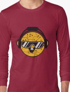 comic cartoon cyborg robot electric lines face head round circle cute sweet music party sunglasses headphones dj club disco Long Sleeve T-Shirt