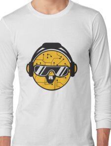comic cartoon cyborg robot electric lines face head round circle cute sweet music party sunglasses headphones dj club disco Long Sleeve T-Shirt