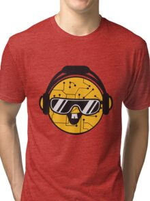 comic cartoon cyborg robot electric lines face head round circle cute sweet music party sunglasses headphones dj club disco Tri-blend T-Shirt