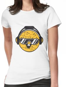 comic cartoon cyborg robot electric lines face head round circle cute sweet music party sunglasses headphones dj club disco Womens Fitted T-Shirt