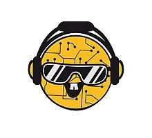 comic cartoon cyborg robot electric lines face head round circle cute sweet music party sunglasses headphones dj club disco Photographic Print