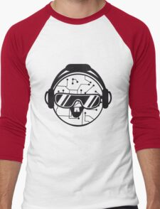 comic cartoon cyborg robot electric lines face head round circle cute sweet music party sunglasses headphones dj club disco Men's Baseball ¾ T-Shirt